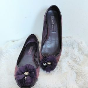 Coach Suede Flower Charm Ballet Flat Shoes 7.5